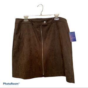 🆕 Apt. 9 olive/brown faux suede zip front skirt